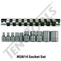 10 Pce 1/4″ and 3/8″ Dr TX-E Sockets on Clip Rail (M3814)