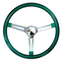 "15"" Metal Flake Steering Wheel - Chrome Slotted 3 Spoke, Green Rubber Grip, 3"" Dish"