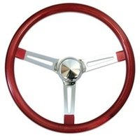"15"" Metal Flake Steering Wheel - Chrome Slotted 3 Spoke, Red Rubber Grip, 3"" Dish"