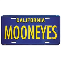 Metal License Plate - Blue With Yellow MOONEYES Name