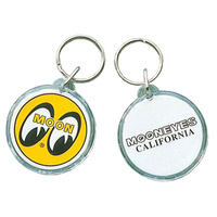 Keyring - Yellow With Moon Logo & Mooneyes California, Each