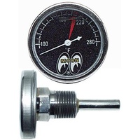 "1-1/2"" Water Temp Gauge 100-280° F - Black Face, Liquid Filled, Direct Mount"